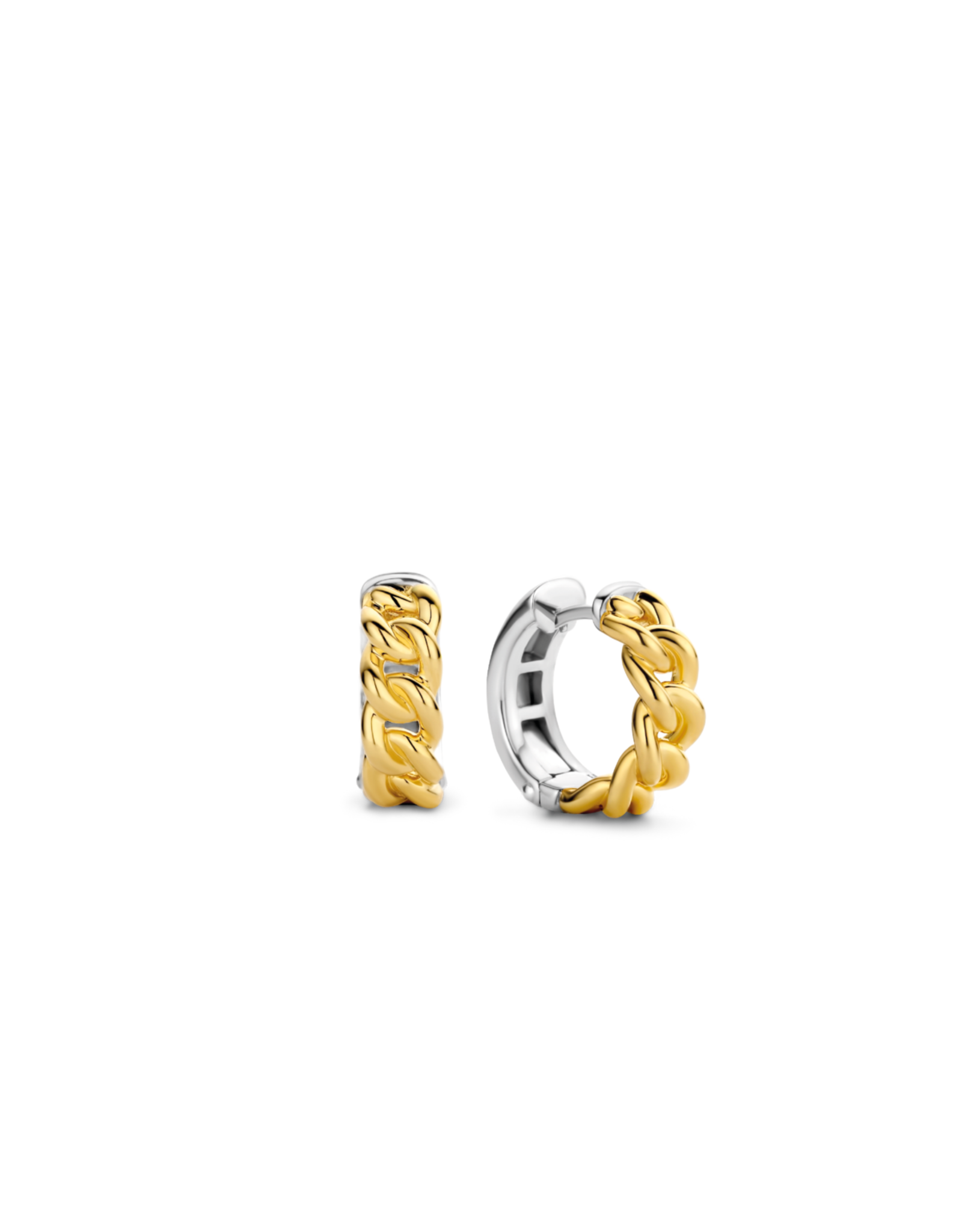 Yellow Gold Plated Cuban Chain Link Hoop Earrings- 7832SY
