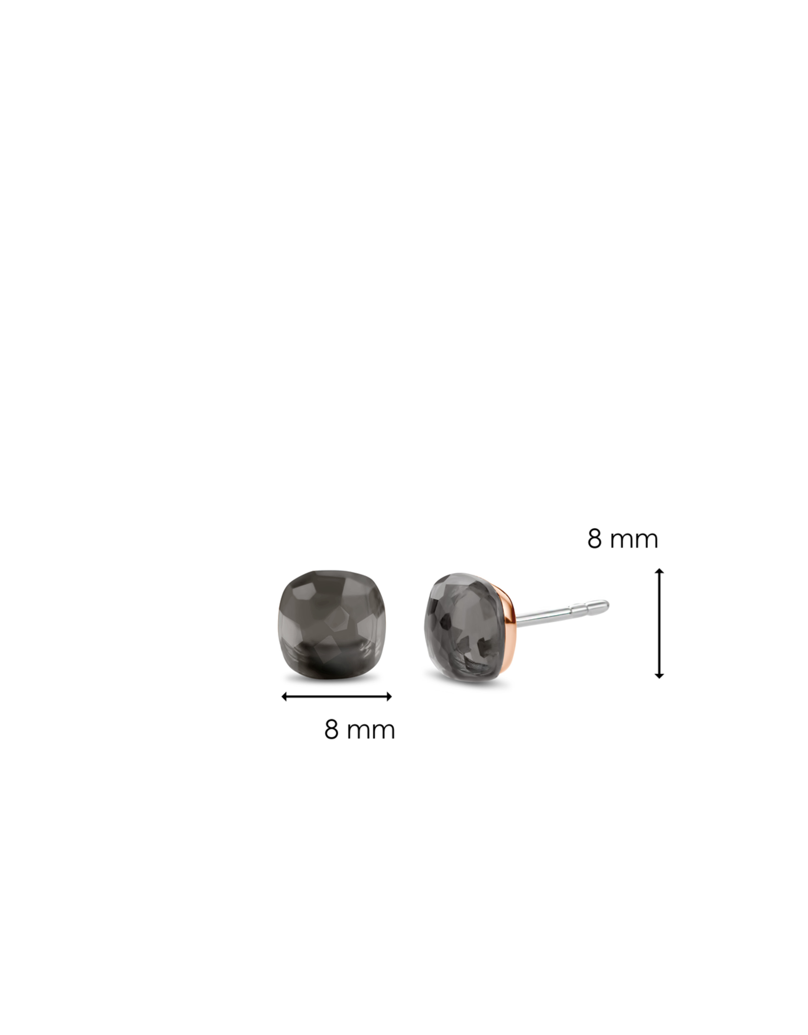 Translucent Grey Stud Earrings (8mm)- 7814GB