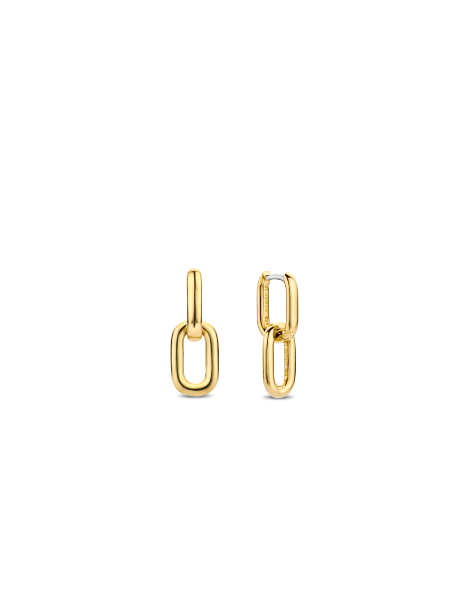 Yellow Gold Plated Chain Link Dangle Earrings- 7831SY