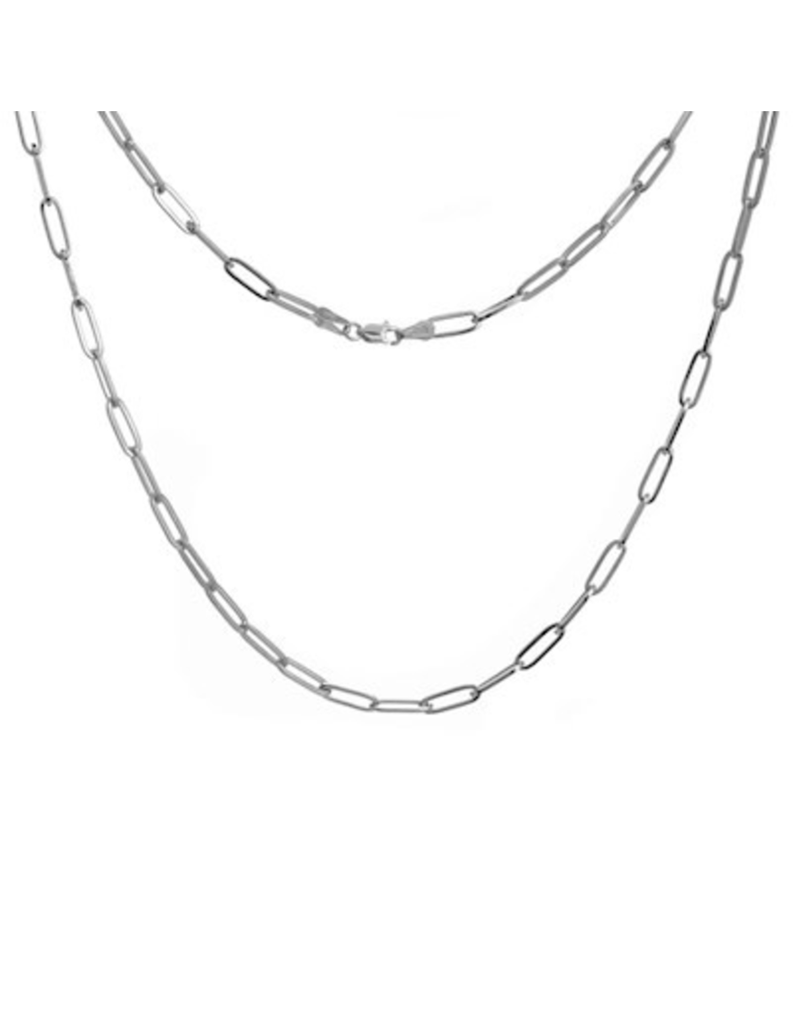 14K White Gold Paperclip Necklace, 16""