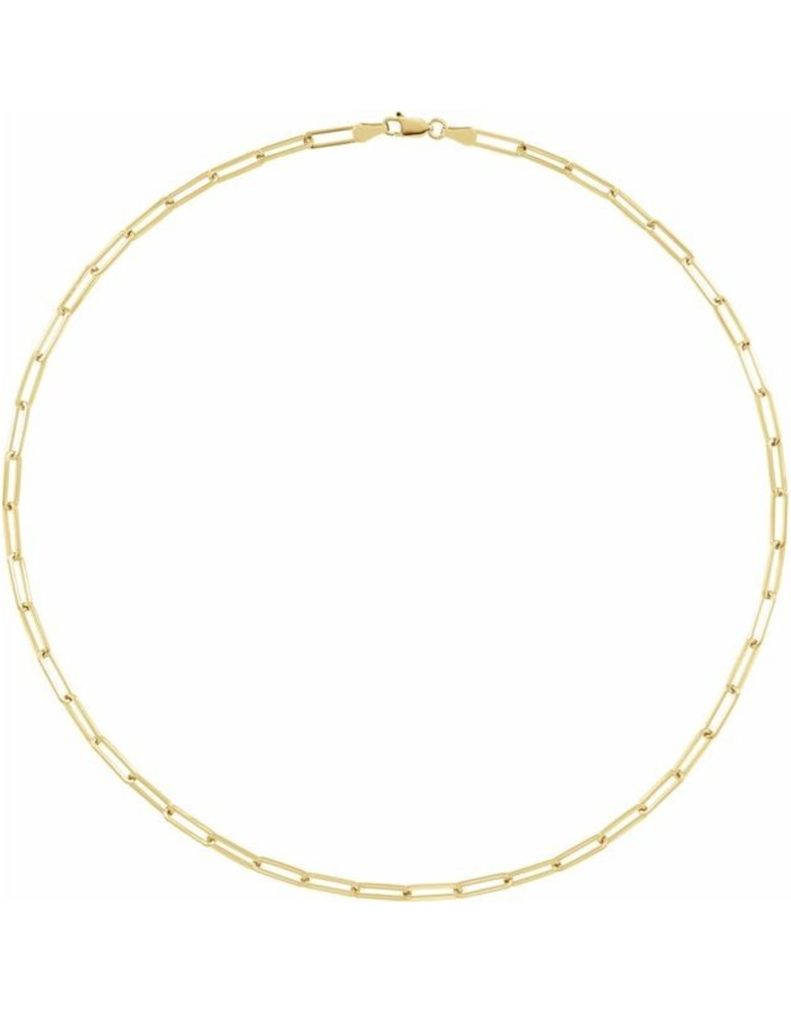 """14K Yellow Gold Paperclip Necklace, 16"""""""