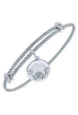 Adjustable Twisted Cable Stainless Steel Bangle with Sterling Silver Claddagh  Charm