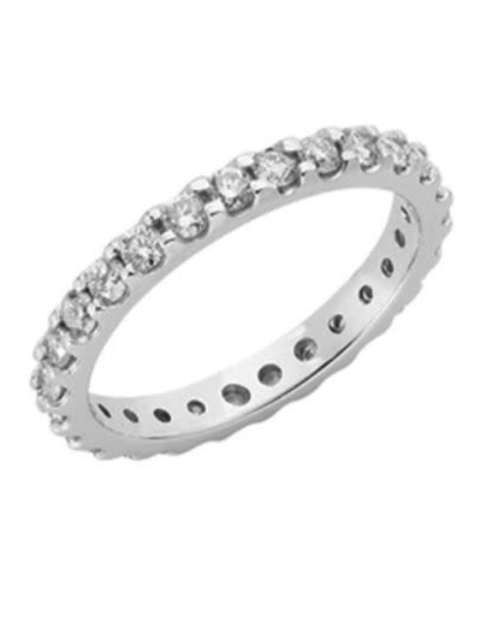 14K White Gold Shared Prong Diamond Eternity Band, 0.95 ct