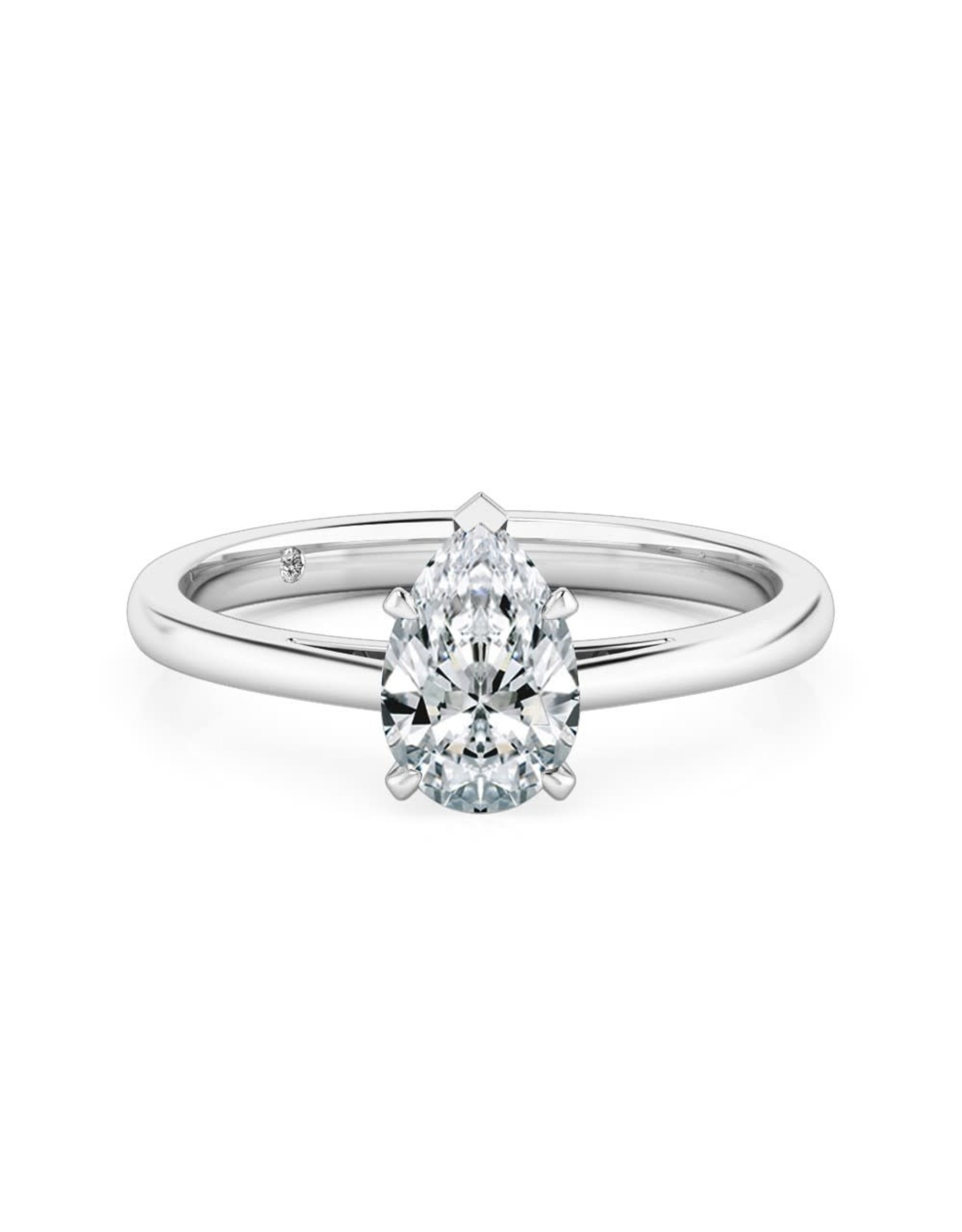 14K White Gold Pear Shaped Solitaire Engagement Ring, D: 1.43ct,  G, Si3