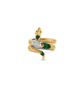 Yellow Gold Plated Malachite Snake Ring