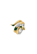 Yellow Gold Plated Malachite Snake Ring- 12203EM/56