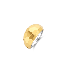 Yellow Gold Plated Geometric Faceted Ring