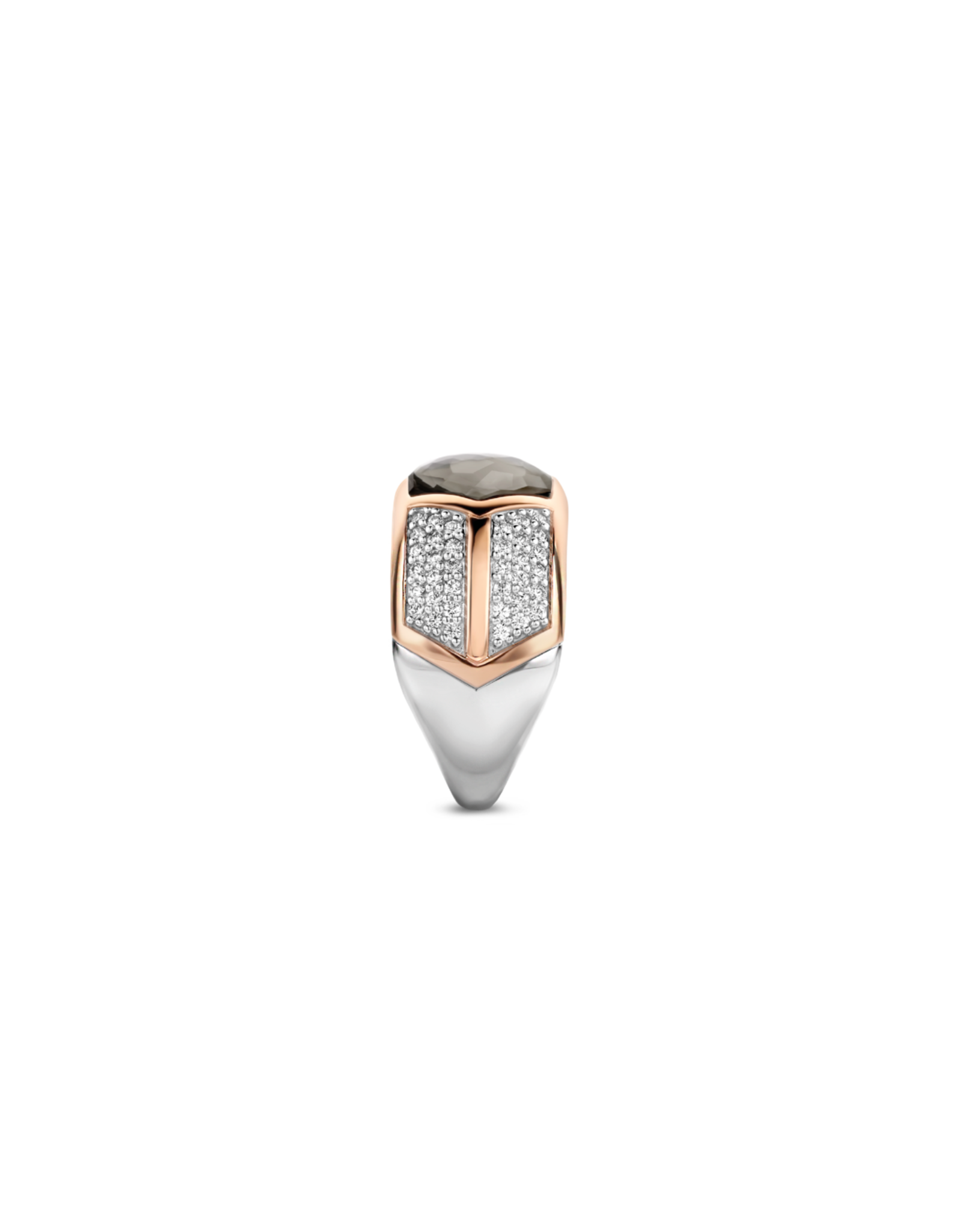 Art Deco Translucent Gray and Black Ring- 12204GB/56