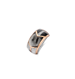 Art Deco Translucent Gray and Black Ring