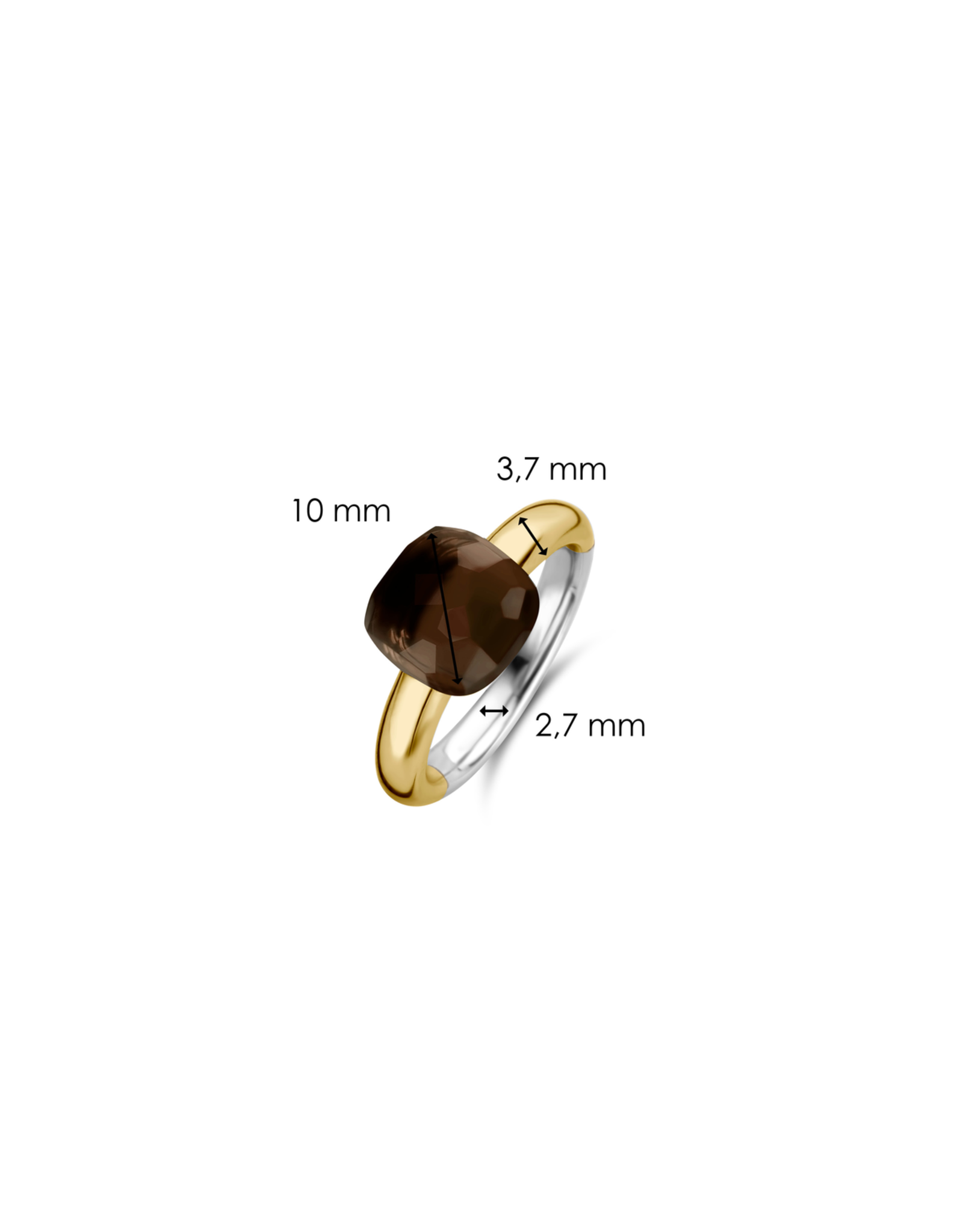 Tortoise Brown Yellow Gold Plated Ring- 12187TB/56