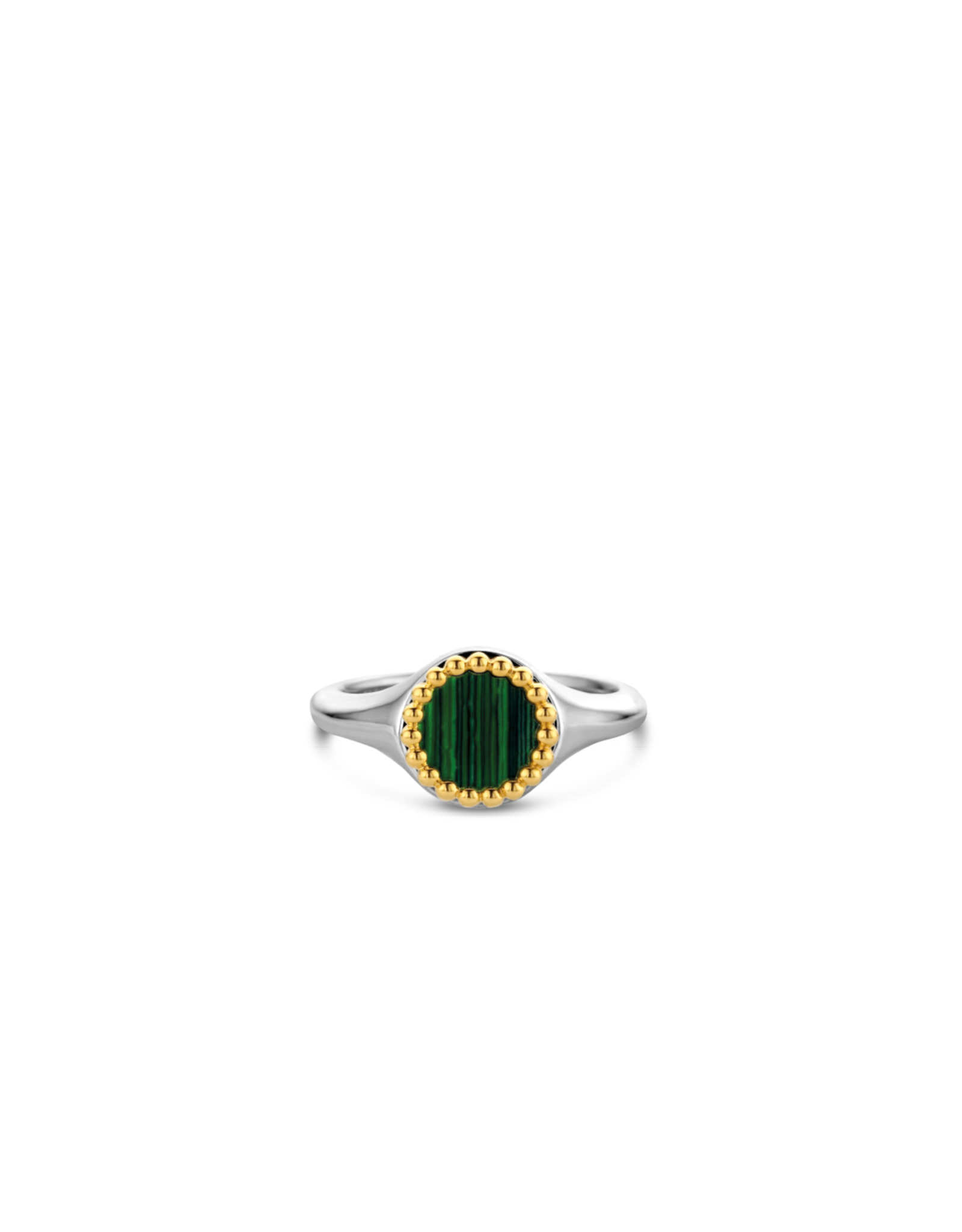 Silver and Yellow Gold Plated Malachite Signet Ring- 12207MA/54