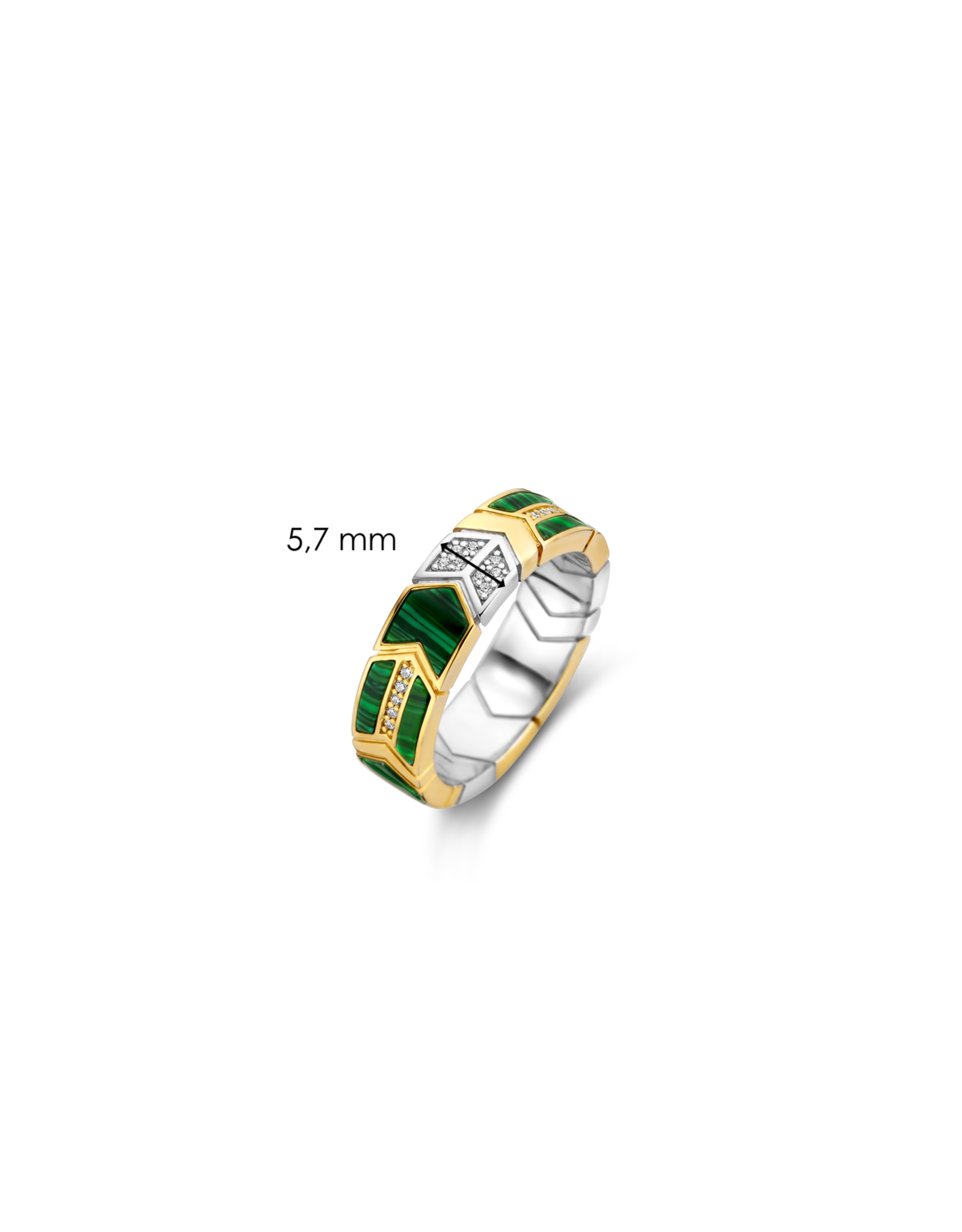 Yellow Gold Plated Arrow-Feather Malachite Ring- 12202MA/56