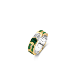 Yellow Gold Plated Arrow-Feather Malachite Ring