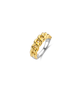 Yellow Gold Plated Cuban Chain Link Ring