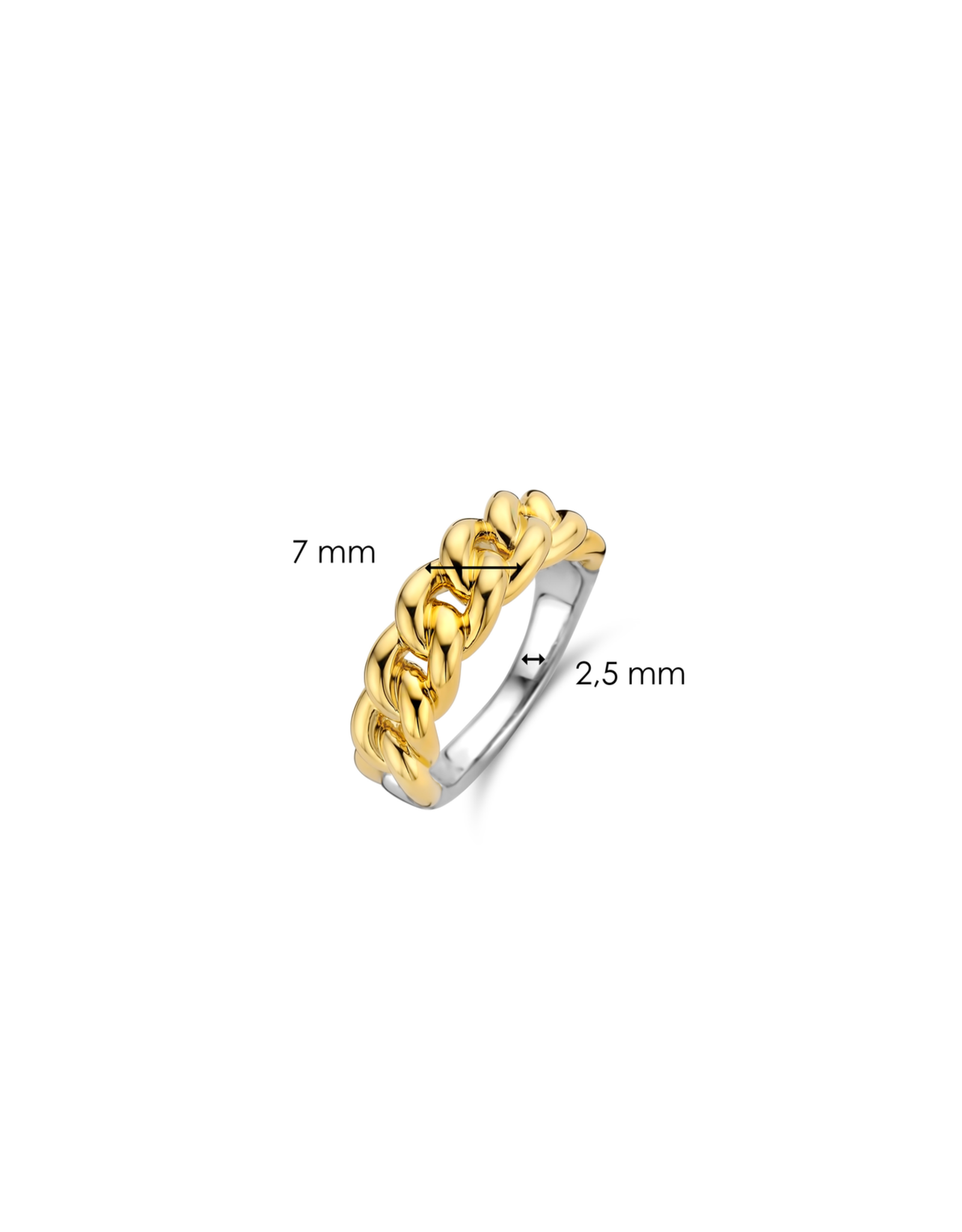 Yellow Gold Plated Cuban Chain Link Ring- 12209SY/58