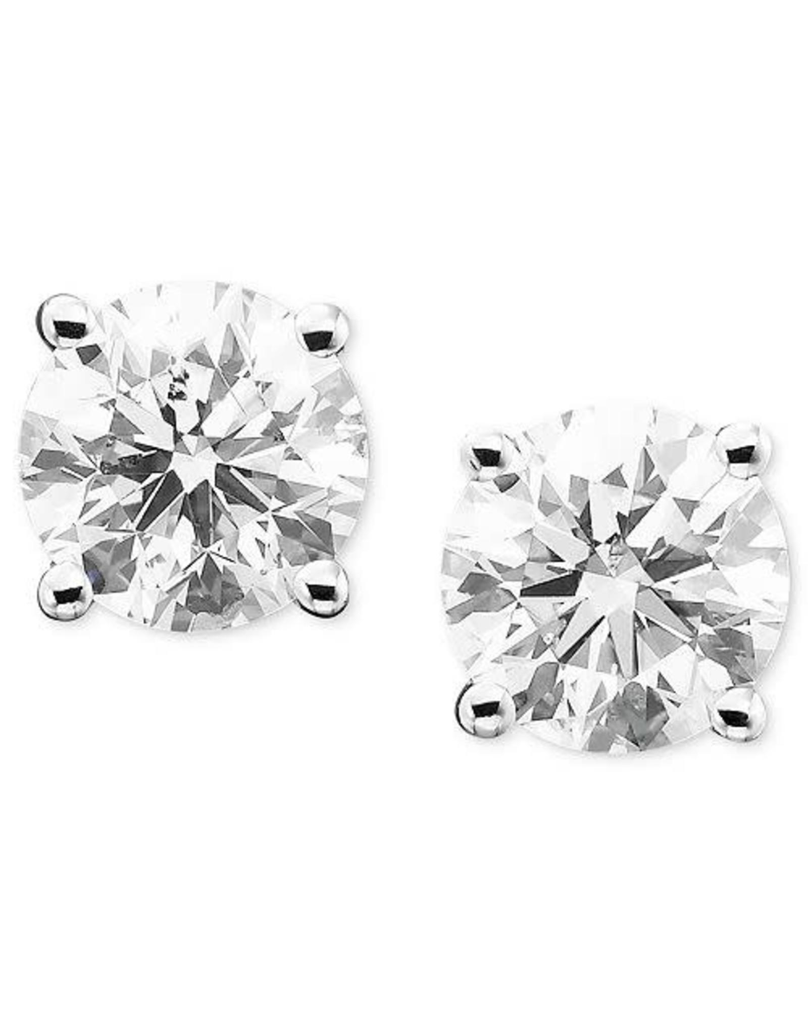 14K White Gold 4-Prong Diamond Stud Earrings, D: 2.02ct