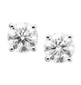 14K W/G 4-Prong Diamond Stud Earrings