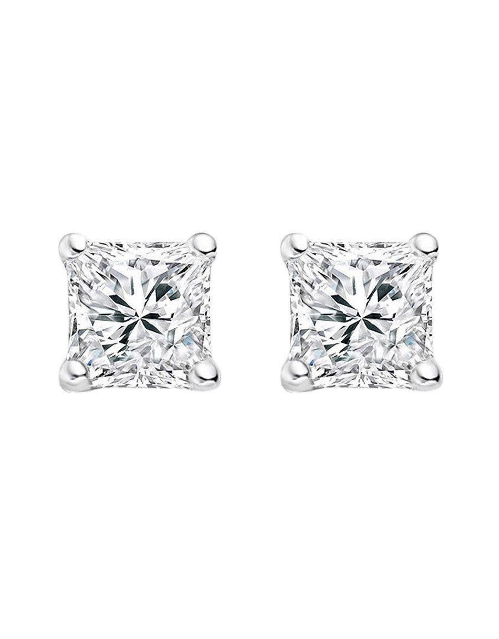 18K White Gold Princess Cut Diamond Stud Earrings, D: 1.90 cts