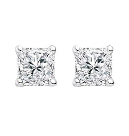 18K W/G Princess Cut Diamond Stud Earrings