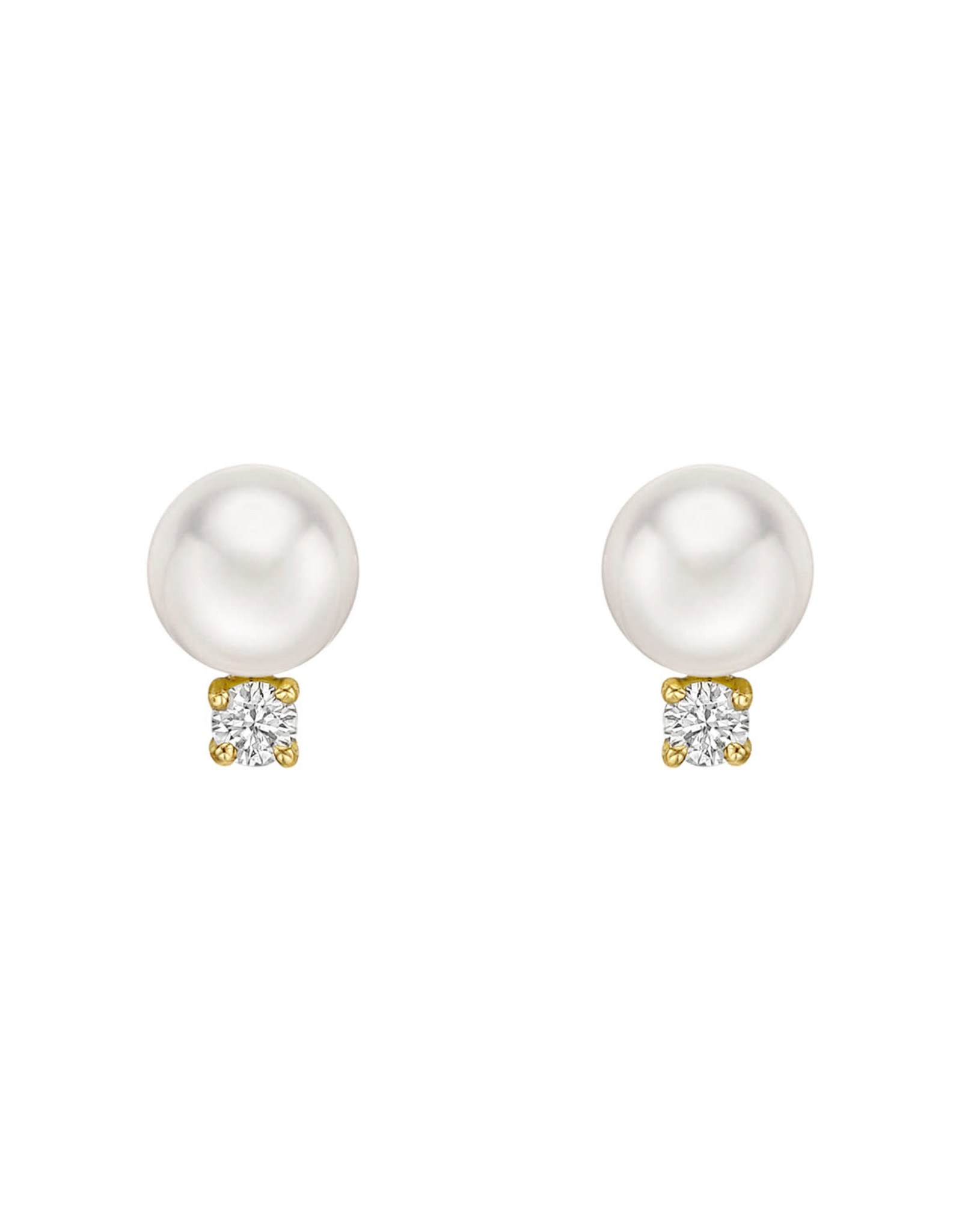 14K Yellow Gold 8mm Pearl and Diamond Stud Earrings, D: 0.14ct