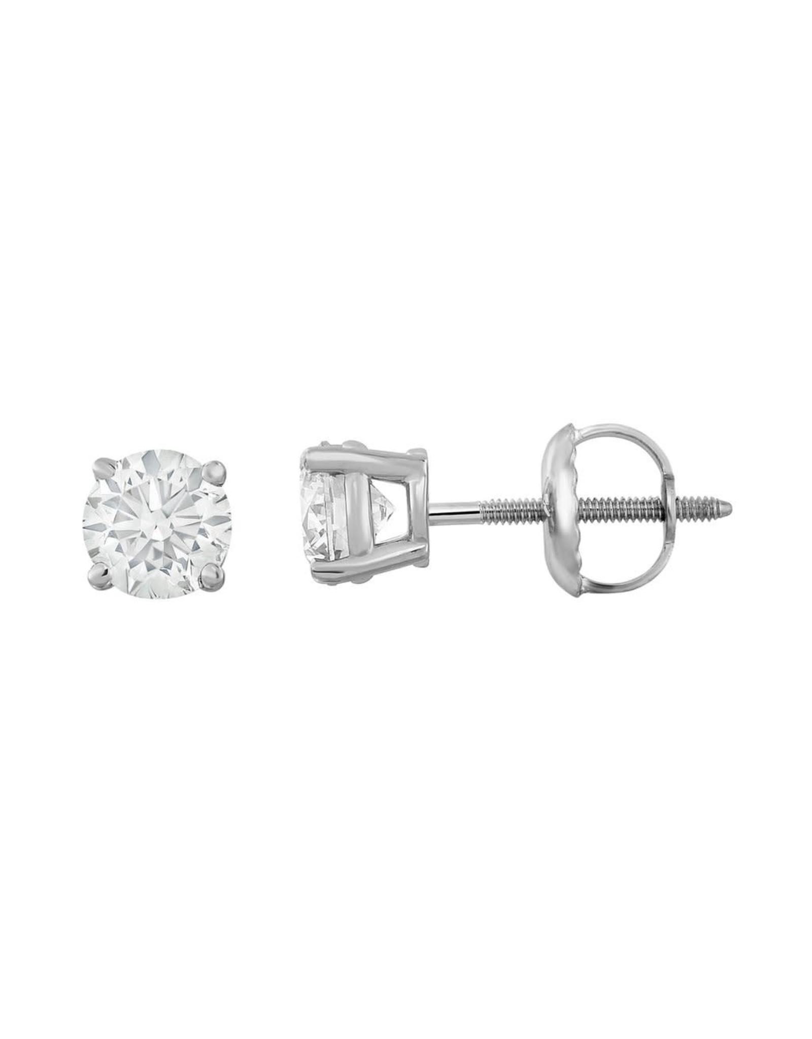 18K W/G 4-Prong Diamond Stud Earrings,  0.71ct