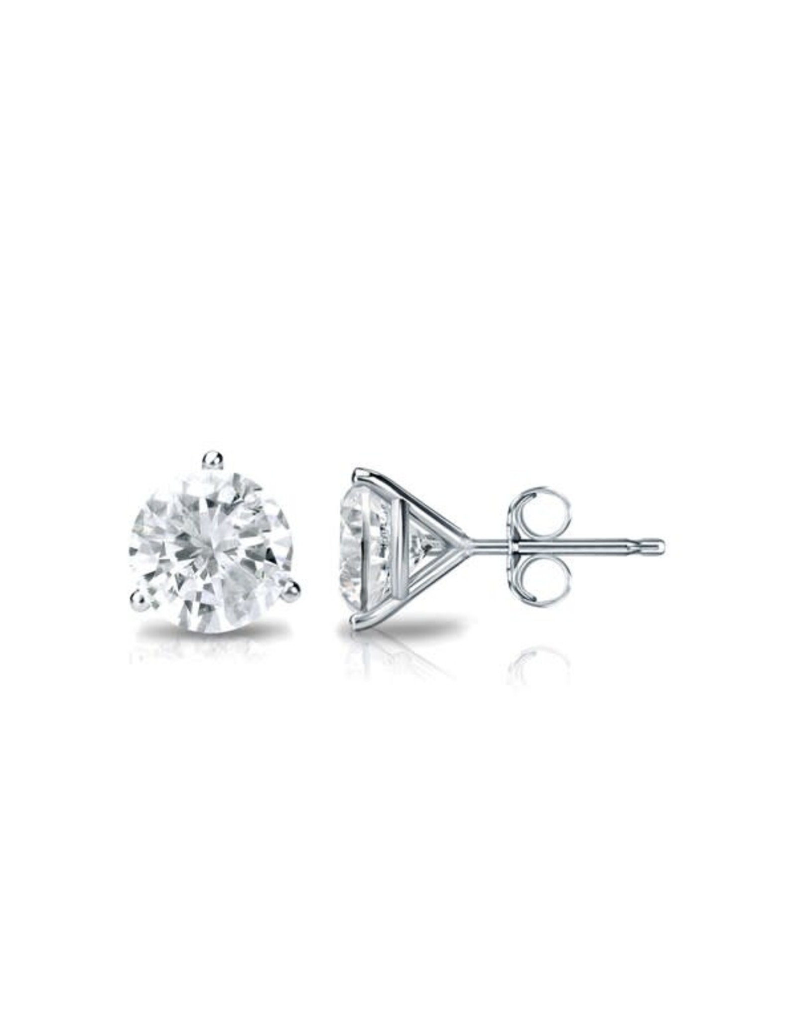 14K White Gold Martini Setting Diamond Stud Earrings, D: 0.61ct