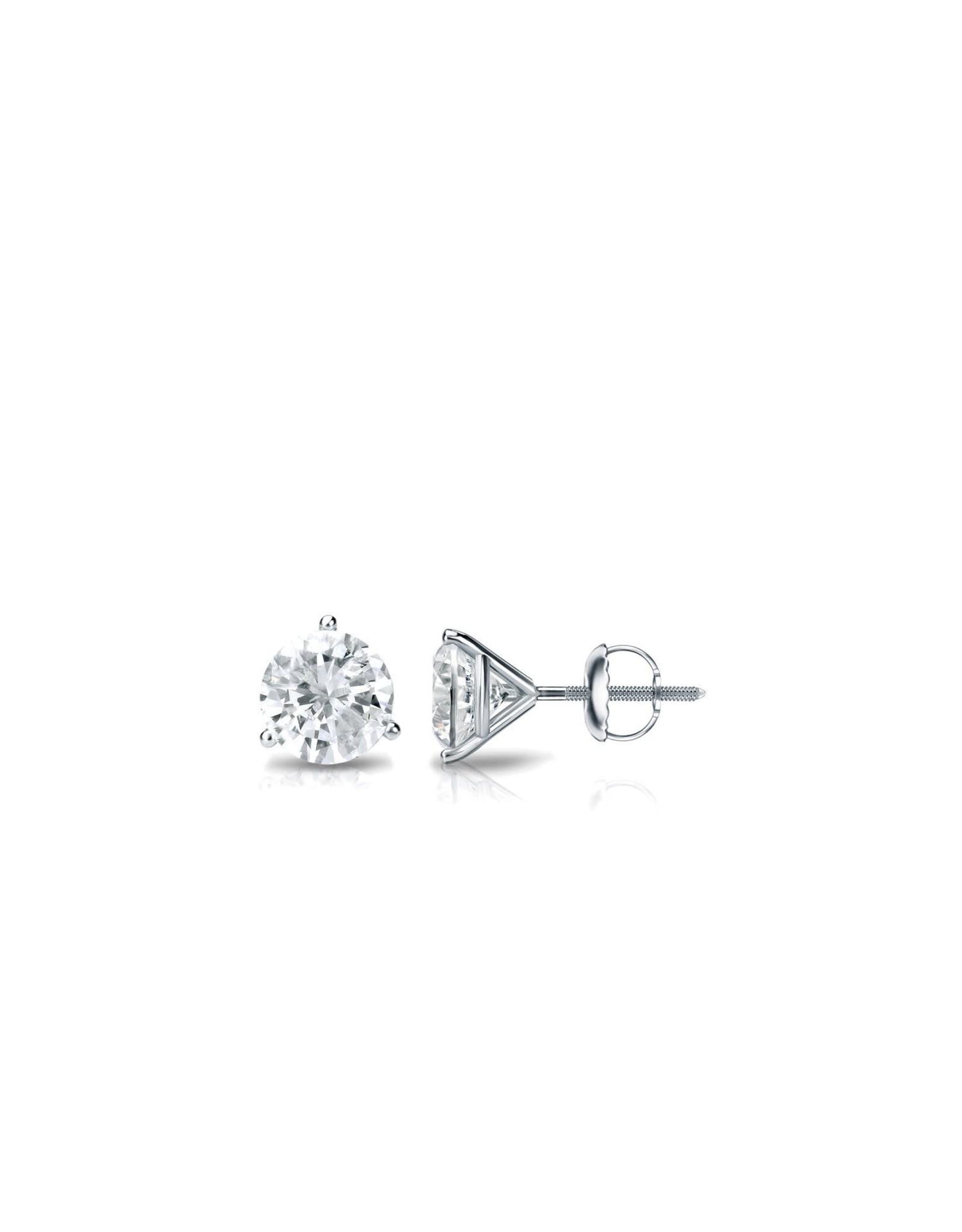 18K White Gold Martini Setting Diamond Stud Earrings, D: 0.63cts