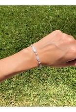 18K White Gold Baguette Diamond Bracelet, D: 3ct