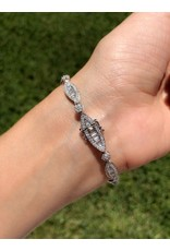 18K White Gold Baguette Diamond Bracelet, D: 3ct