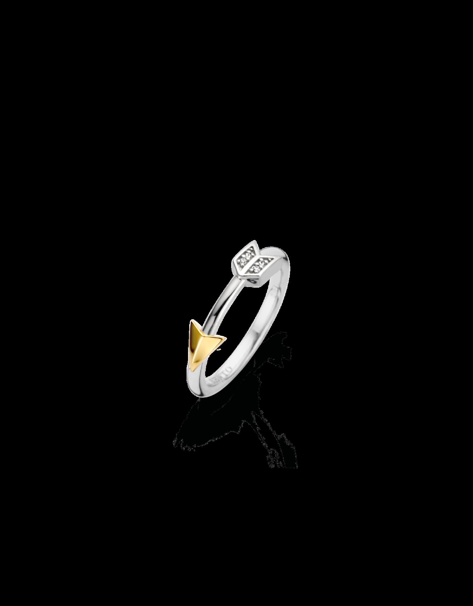 Two tone Arrow Ring with Zirconias- 12198ZY