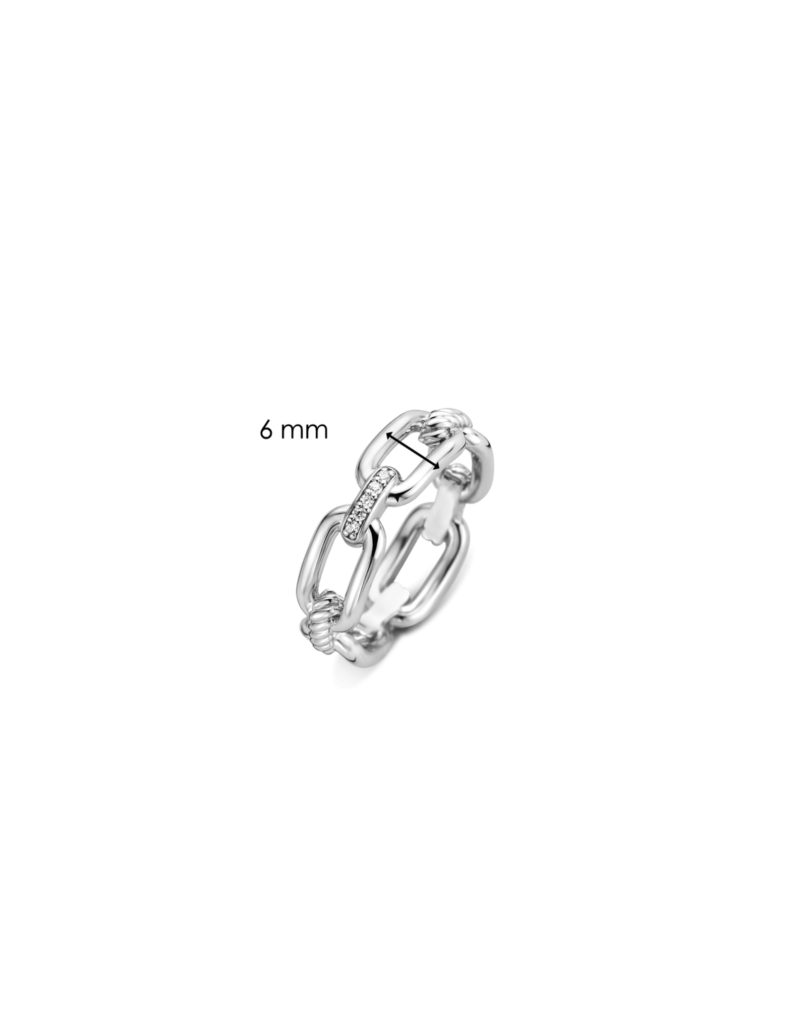 Silver Paperclip Link Ring with Zirconia- 12206ZI