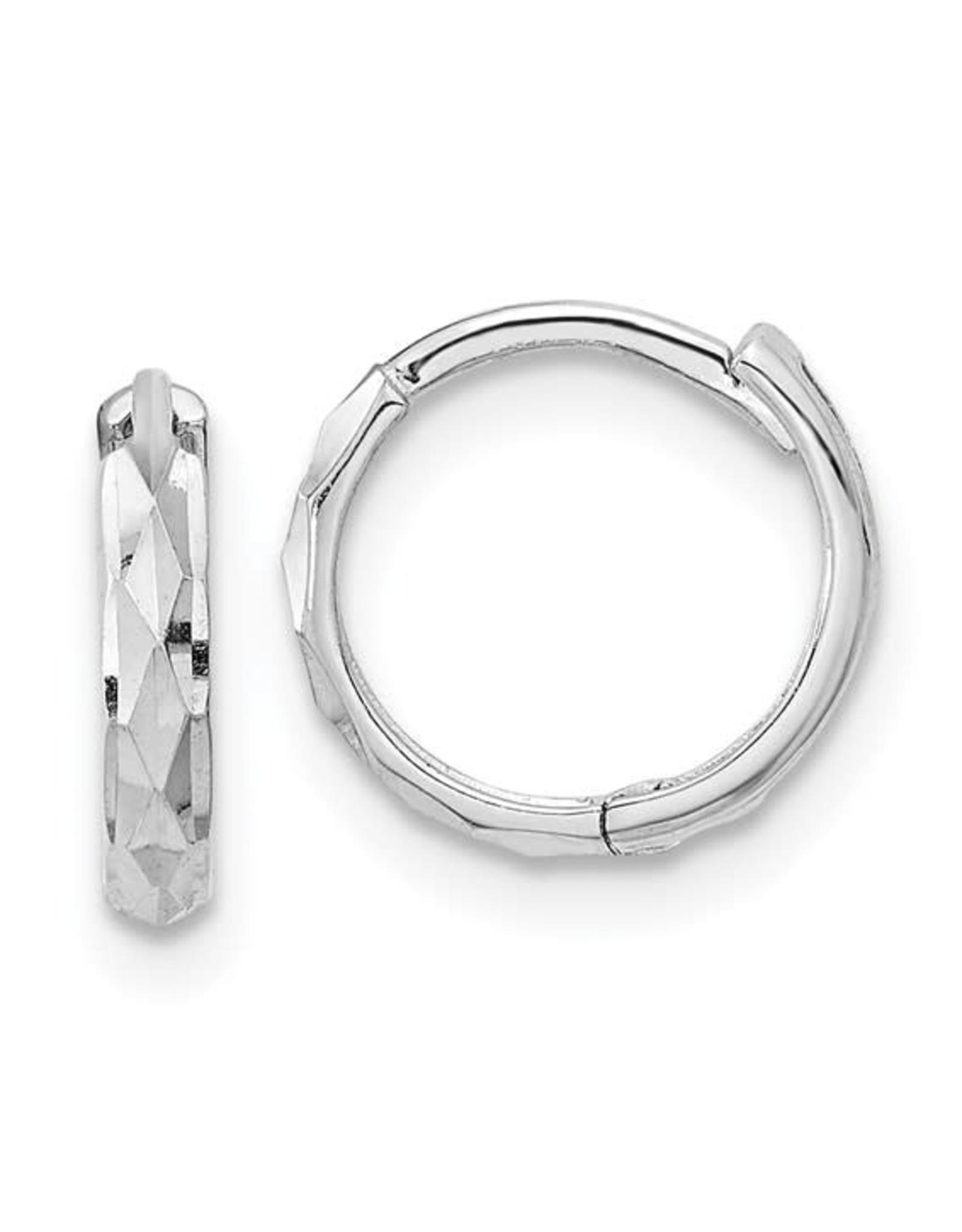 "14K White Gold Hinged Diamond Cut Huggie Earrings, 0.50"""