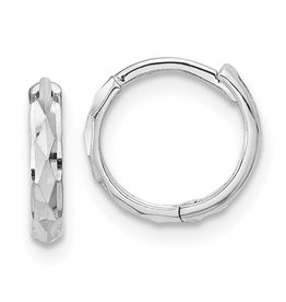 14K W/G Hinged Diamond Cut Huggie Earrings, 0.50""