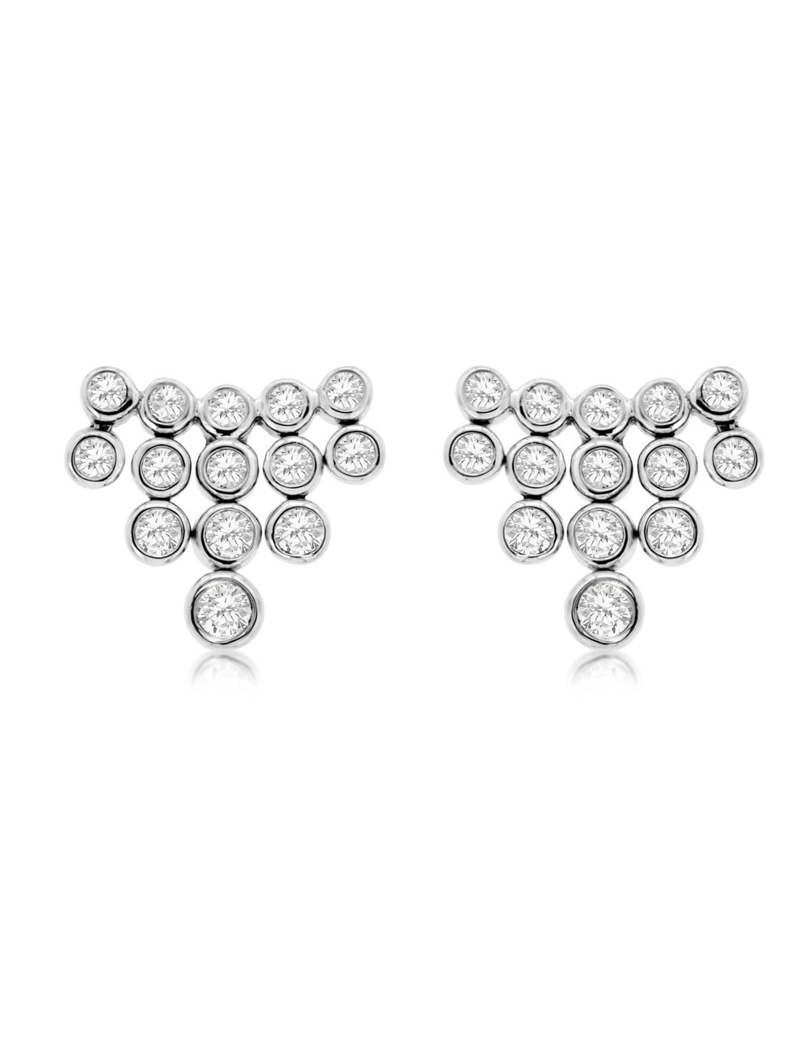 14K White Gold Cascade Diamond Fashion Stud Earrings, D: 0.40ct