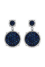 14K White Gold Sapphire and Diamond Dangle Earrings, S: 2.45ct, D: 0.80ct