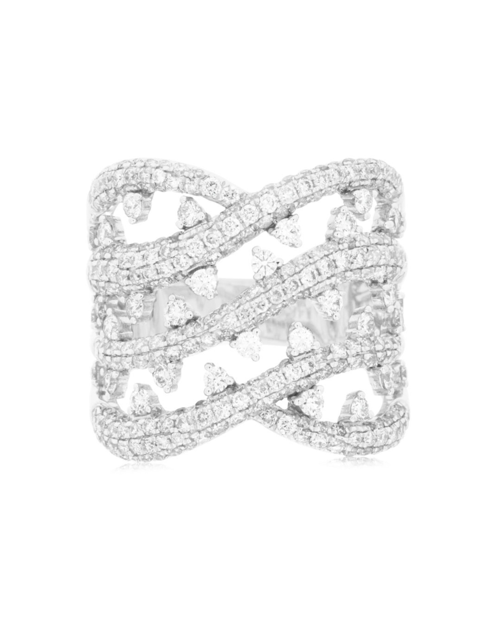 14K White Gold Fancy Diamond Statement Ring, D: 2ct