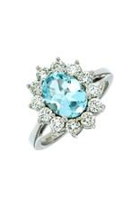 14K White Gold Aquamarine and Diamond Princess Diana Style Ring, AQ:1.50ct, D:1ct