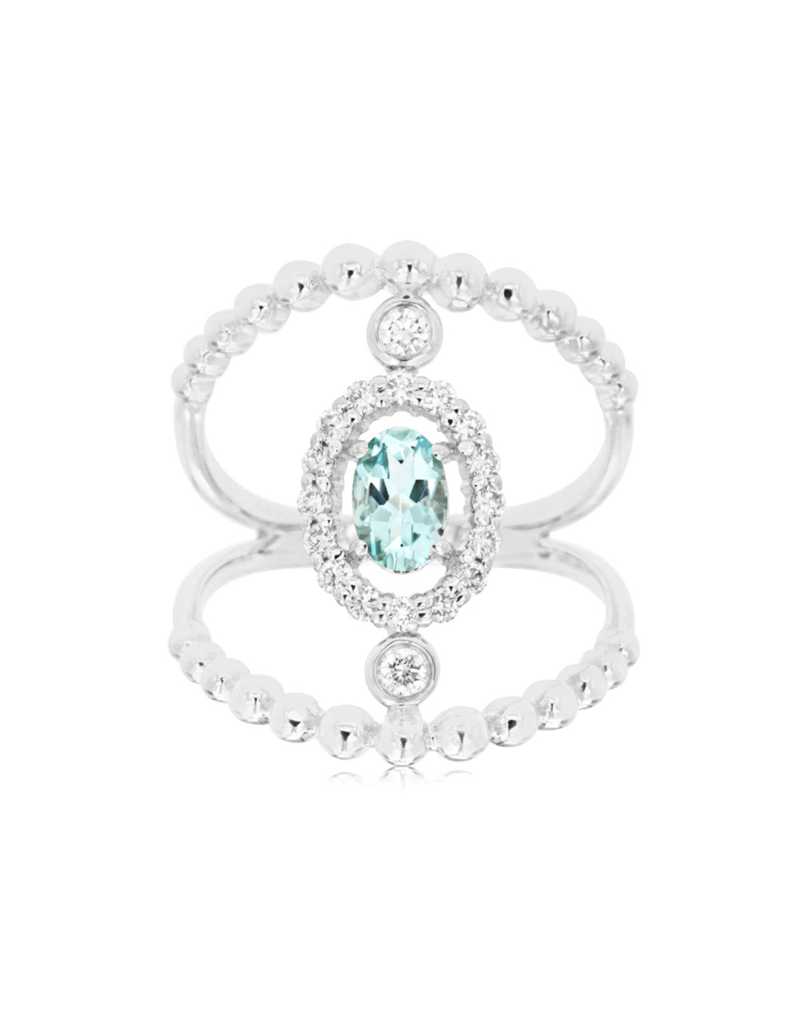 14K White Gold Oval Aquamarine and Diamond Ring, AQ: 0.45ct, D: 0.31ct