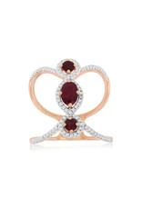 14K Rose Gold Ruby and Diamond Fashion Ring, R: 0.90ct, D: 0.28ct