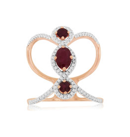 14K R/G Ruby and Diamond Fashion Ring