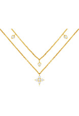 14K Yellow Gold Double Layer Diamond Fashion Necklace, D: 0.36ct