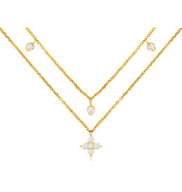 14K Y/G Double Layer Diamond Fashion Necklace