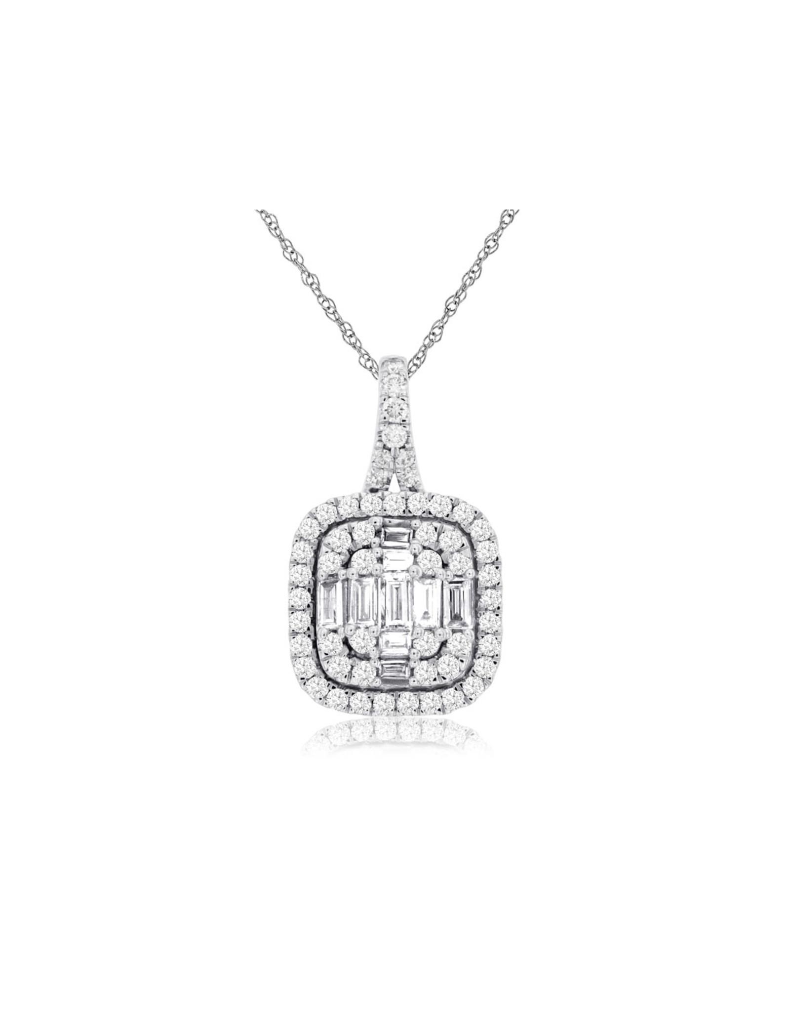 14K White Gold Baguette Diamond Double Halo Pendant , D: 0.60ct
