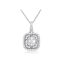 14K W/G Baguette Diamond Double Halo Pendant