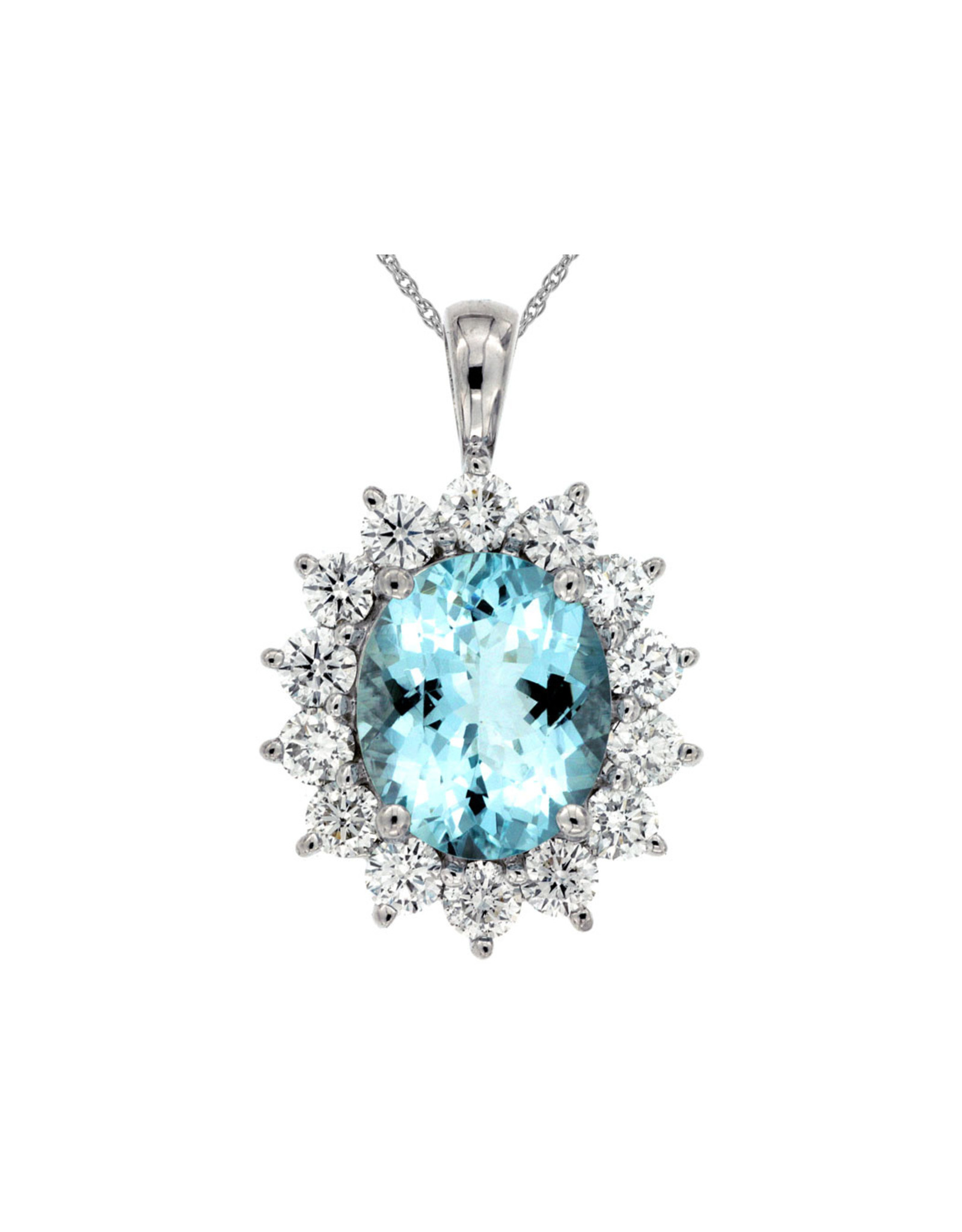 14K White Gold Oval Aquamarine and Diamond Necklace, Aq: 4.05ct, D: 1.90ct