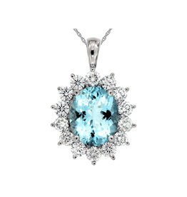 14K W/G Oval Aquamarine and Diamond Necklace