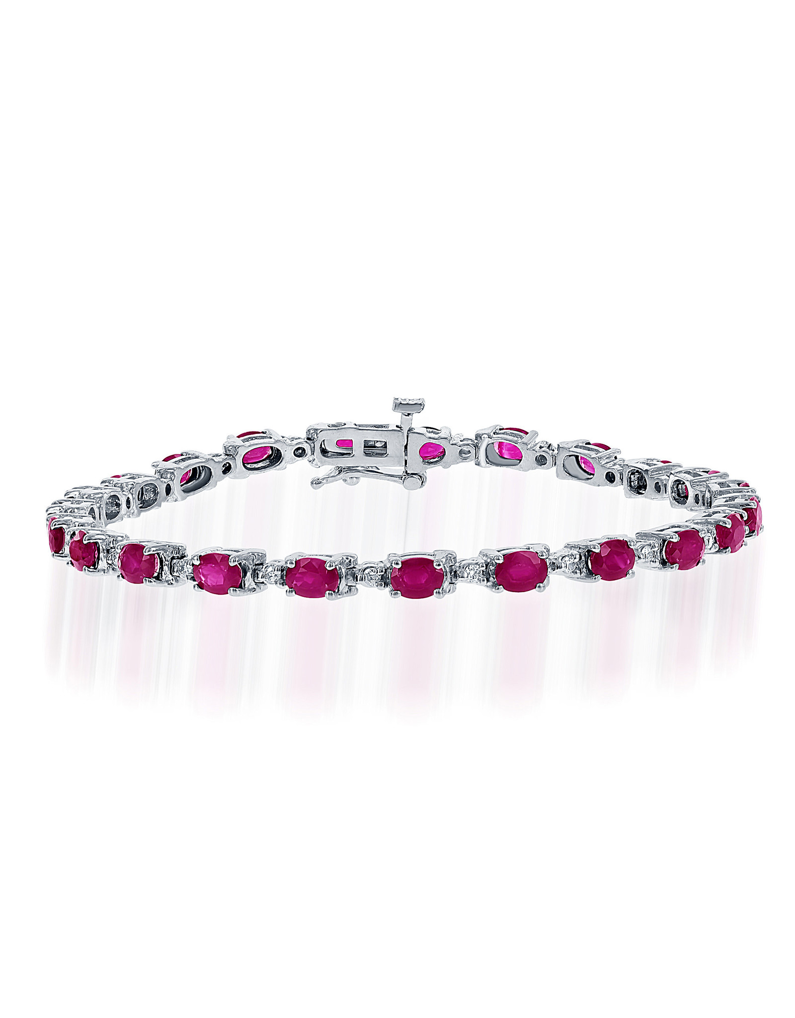 14K White Gold Ruby and Diamond Tennis Bracelet, R: 7.42ct, D: 0.53ct