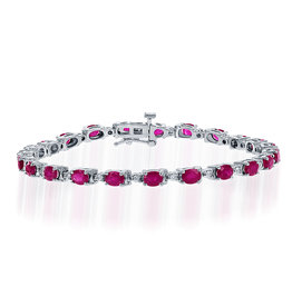 14K W/G Ruby and Diamond Tennis Bracelet