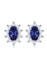 14K White Gold Oval Sapphire and Diamond Earrings, S:  1.32ct, D: 0.44ct