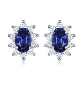 14K W/G Oval Sapphire and Diamond Earrings